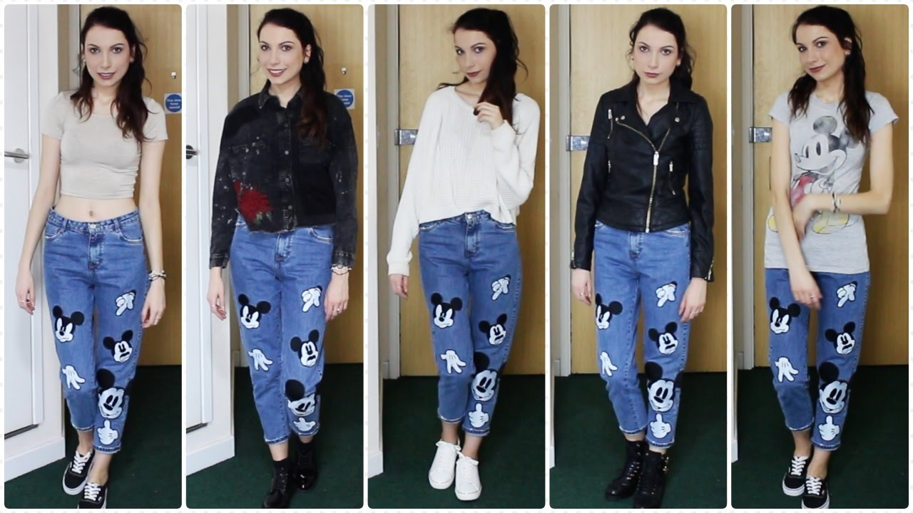 How I Style Zara Mickey Mouse Disney Mom Jeans Lookbook