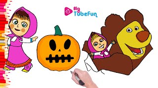 Masha and the bear coloring pages, bigtubefun, Маша и Медведь (Masha and The Bear)