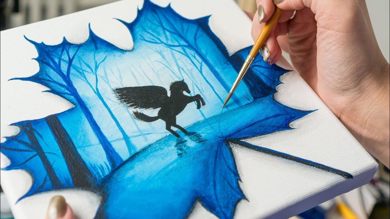Pegasus In Maple Leaf Acrylic Painting Homemade Ilration 4k