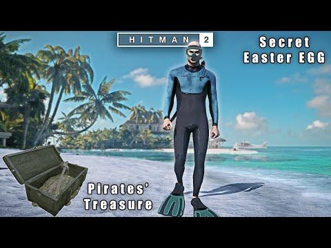 HITMAN 2 - Haven Island Pirates GOLD Treasure Secret Chest   Scuba Diver Exit Easter EGG
