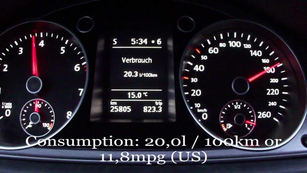 2012 VW Passat 1.4 TSI Fuel Consumption Test - YouTube