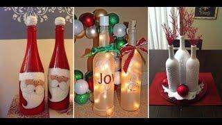 Christmas Wine Bottle Decor. Crafts with empty wine bottles!