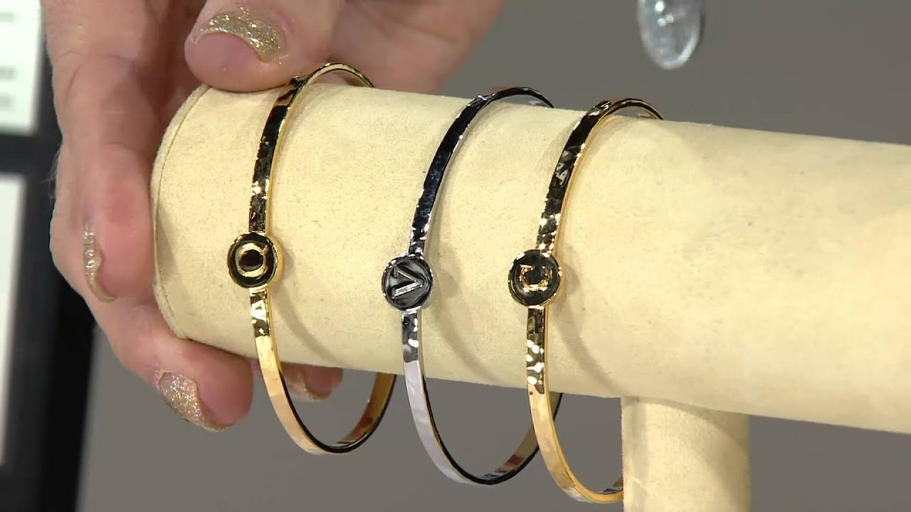 Letterology Silvertone Initial Cuff Bracelet On Qvc
