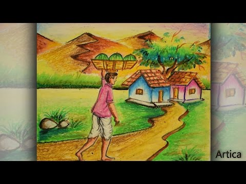 How to Draw a Village Landscape with Oil Pastel | Oil Pastel