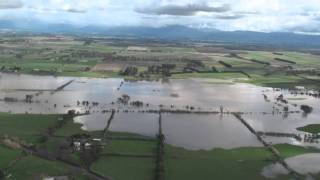 Northern Tasmanian floods from the air