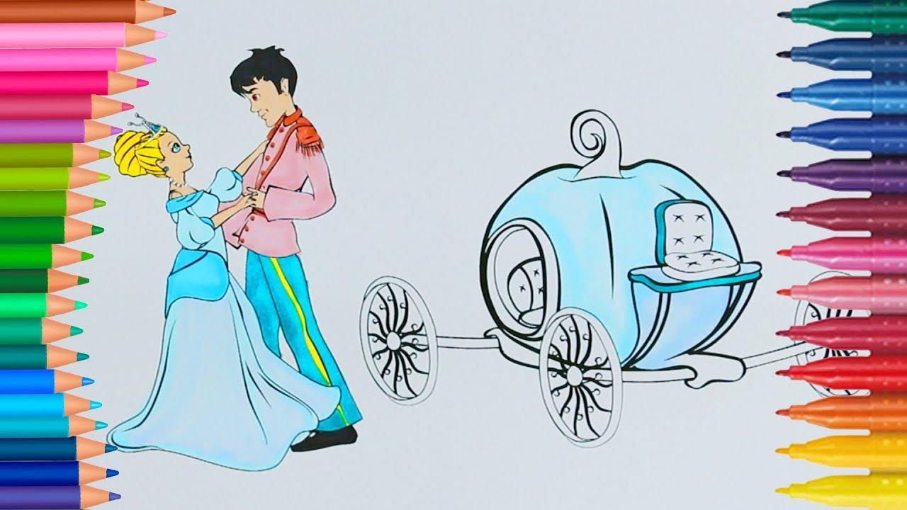 Sindirella Ve Yakışıklı Prens Boyama Sayfası Ile Renkleri
