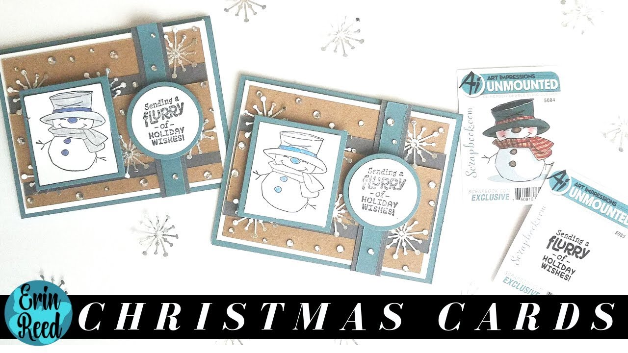 Snowman Stamp Cardstock Christmas Cards Christmas Card A Day