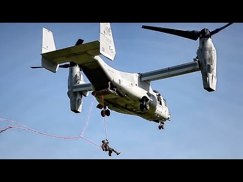 Marines Rappelling & Fast Rope Training • MV-22 Osprey