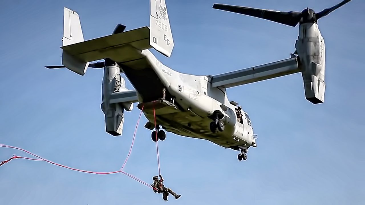 Marines Rappelling & Fast Rope Training • MV-22 Osprey ...