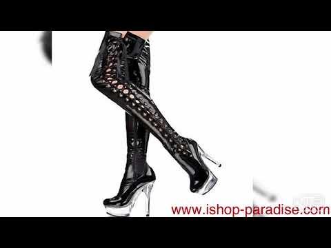 womens Overknee go go boots PU leather straps booties men plus size sb98