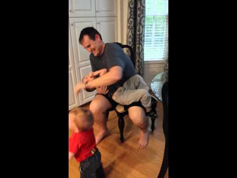 Jackson and Cole Matey in the tickle chair YouTube – The Tickle Chair