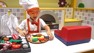 Ben and Anto pretend play making pizza cake at indoor playground with Nursery rhymes song for kids