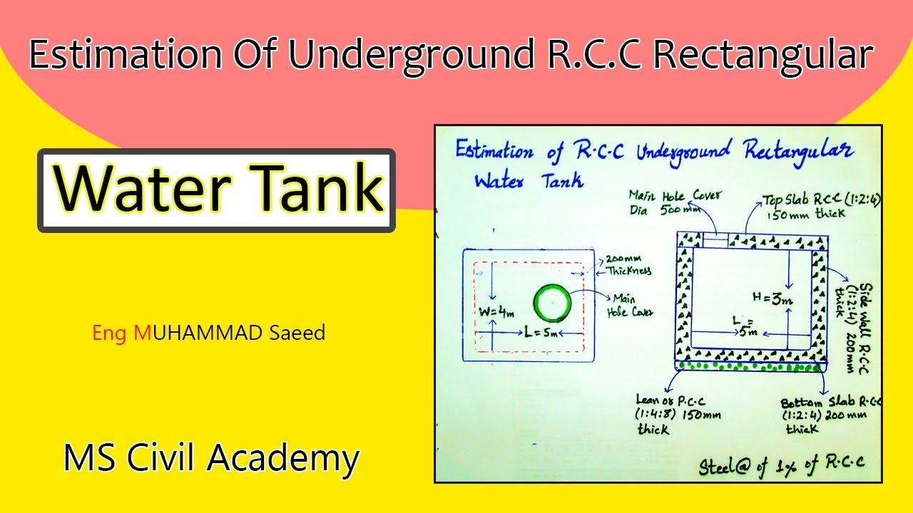 Estimate Of RCC Underground Rectangular Water Tank|Best Video Tutorial