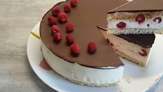 Торт птичье молоко с малиной