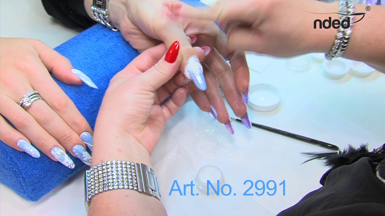 Nail Art Sand Technique For Gel Nails In Winter Look Nded