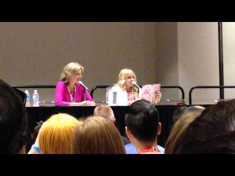 Andrea Libman, voice of Fluttershy on MLP:FiM reads a quote from the comic at Fan Expo 2013