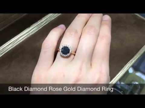 Black Diamond Engagement Ring Rose Gold