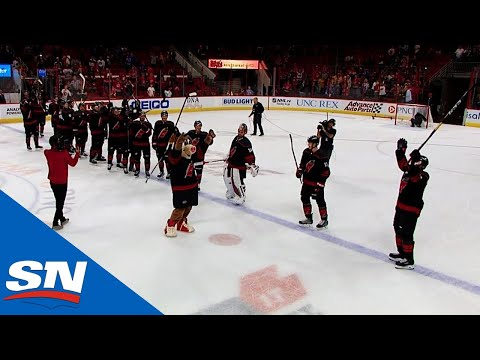 Justin Williams Leads Carolina Hurricanes In Victory Celebration After Beating Rangers