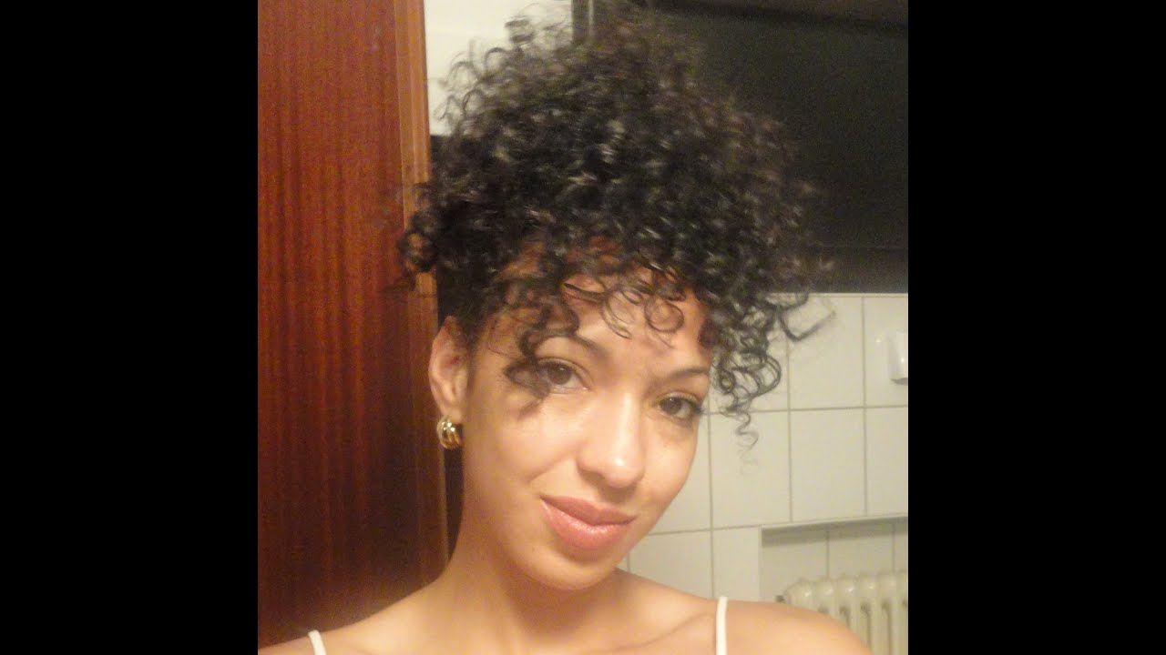 quick curly hair styles: curly mohawk/updo and bun - youtube