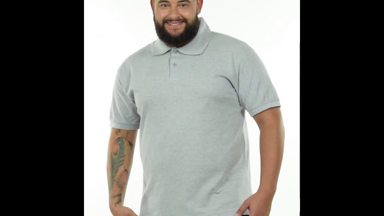 Camisa Polo Piquet Cinza Mescla Plus Size Masculina Fenomenal - YouTube 6a5f8082e78