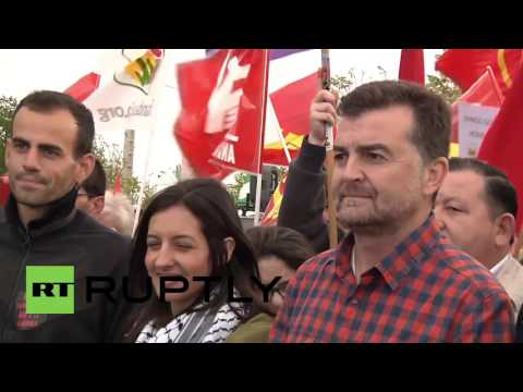 Spain: Anti-NATO Protesters Rally Outside US Military Base Near Seville