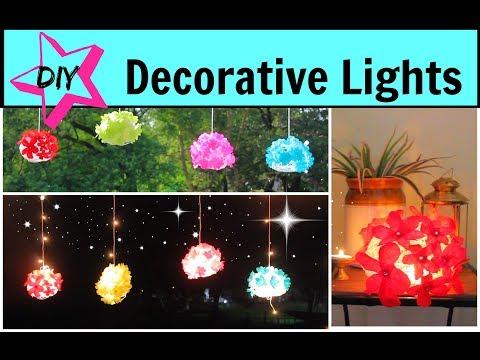 DIY Diwali Lights / Lantern Decoration Ideas using Paper and Yarn.