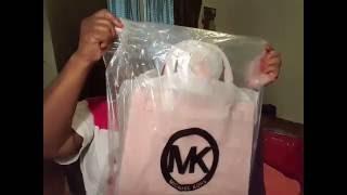 michael kors unboxing large dillion saffiano leather satchel pale pink
