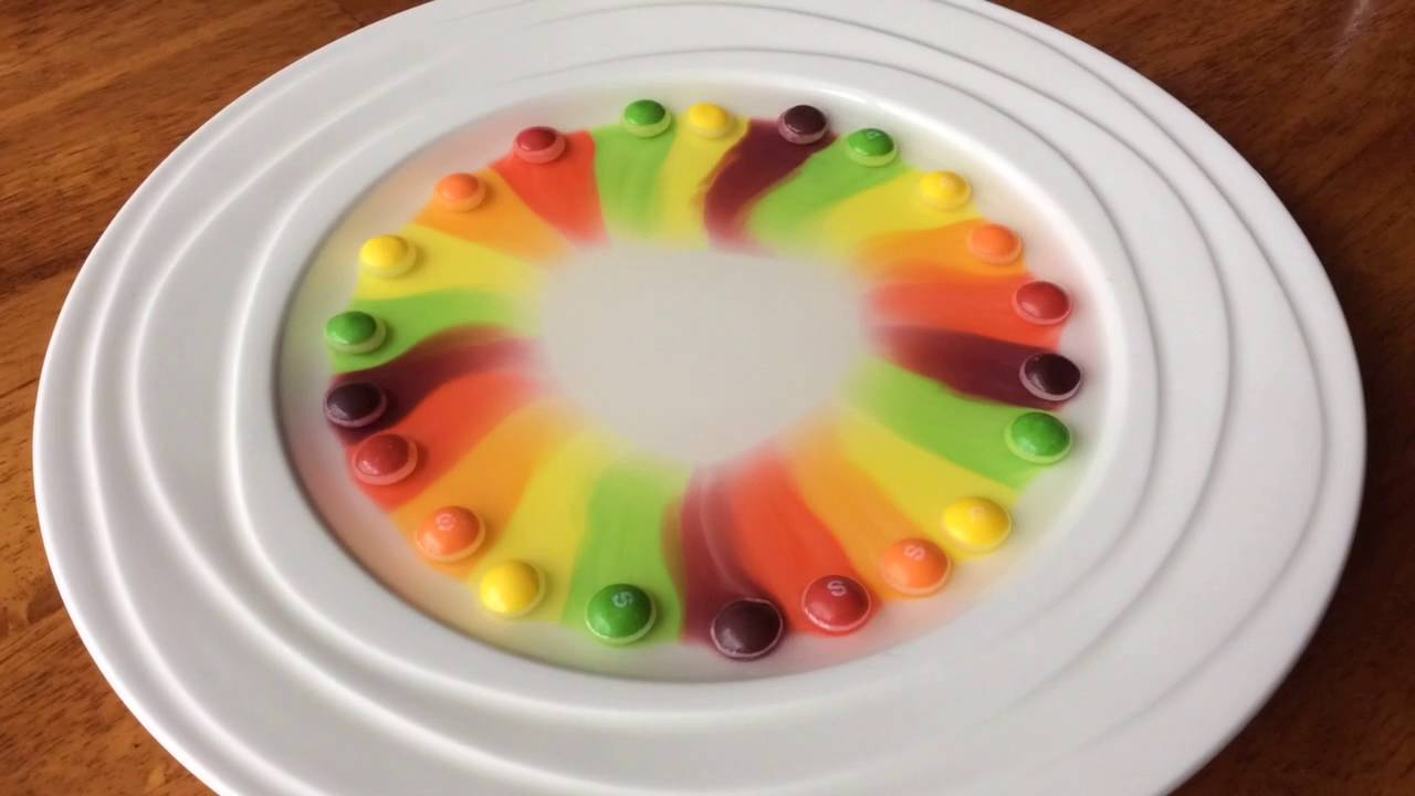 Skittles Science Experiment YouTube - Pouring hot water on skittles creates a magical rainbow