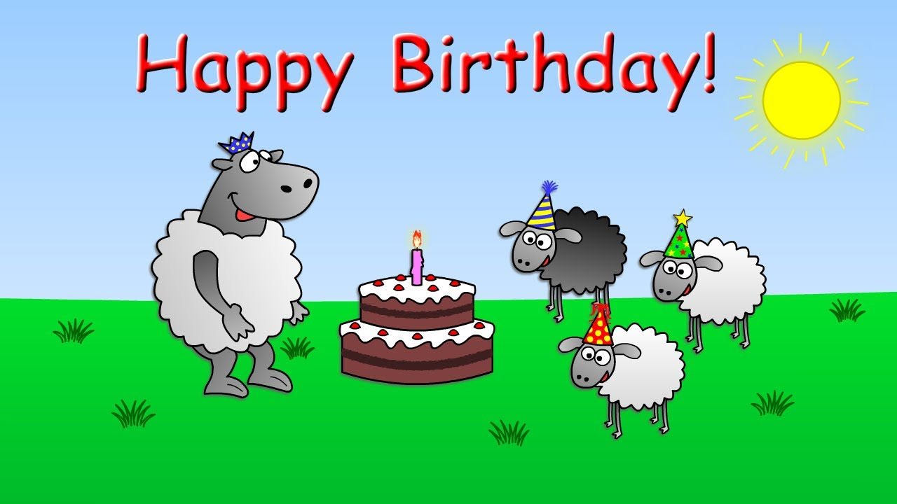 Happy Birthday Funny Animated Sheep Cartoon Happy Birthday Song With Cake Youtube