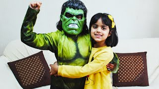 Cutie pretend as Hulk Saves Ashu from Scary Spider