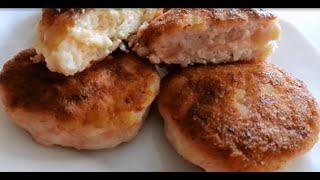 Зразы куриные с сыром Сочные и нежные Рецепт котлет из куриного фарша с сырной начинкой