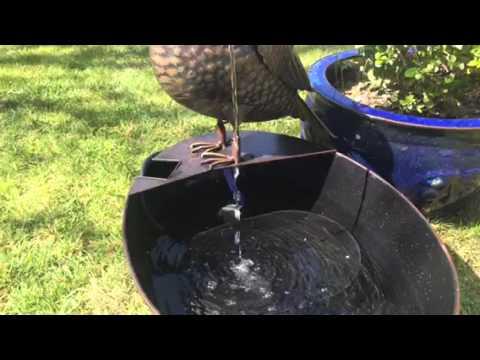 Metal Owl with Bucket Garden & Patio Water Feature