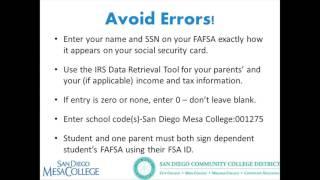 San Diego Mesa College Financial Aid workshop,