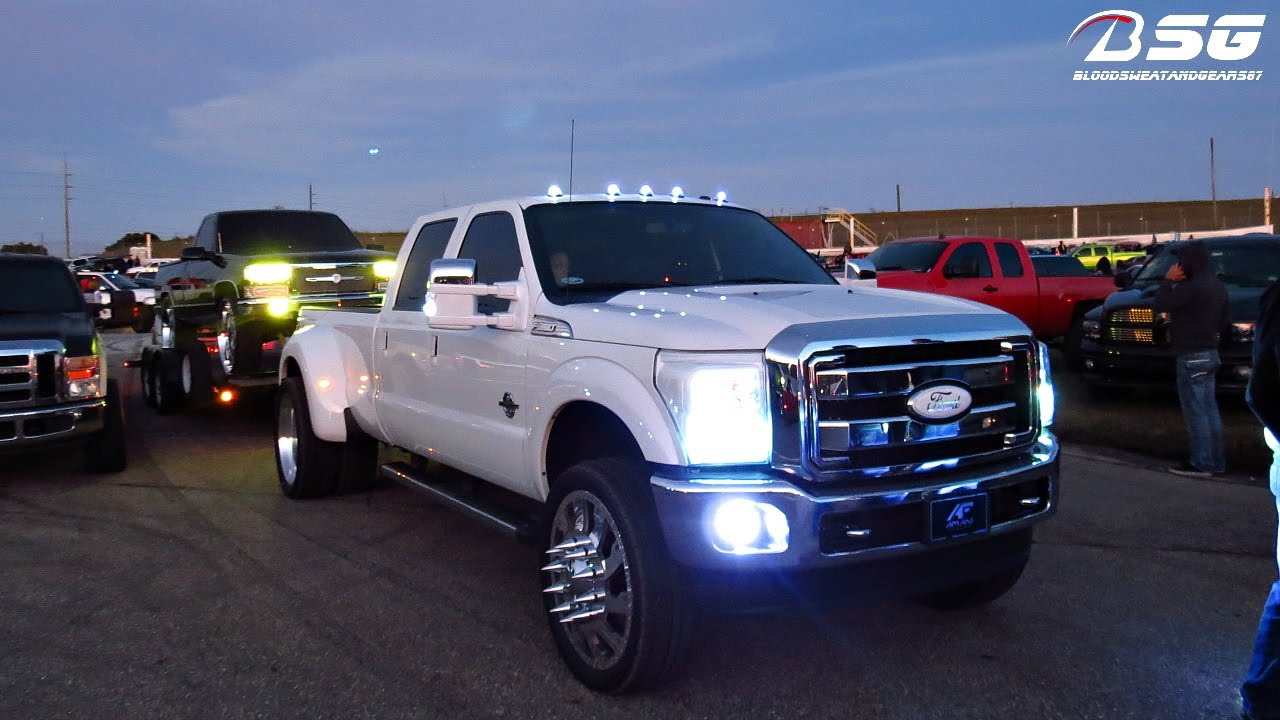 F250 Short Bed For Sale >> F-350 (FX4 OFFROAD) Dually on American Force 26s TOWING Chevy 1500 on Amani Forged 30s - YouTube