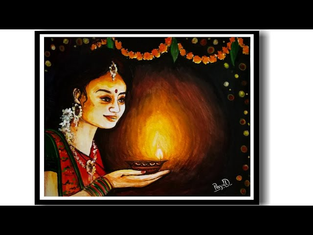 How to draw Diwali Celebration Painting by Water Color