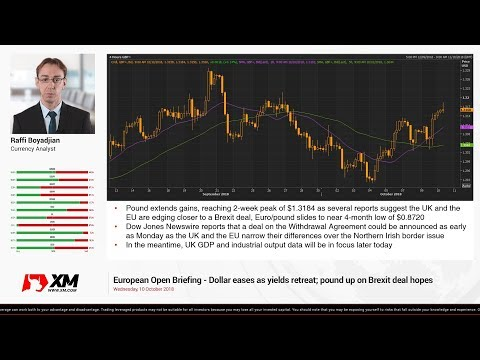 Forex News: 10/10/2018 - Dollar eases as yields retreat; pound up on Brexit deal hopes