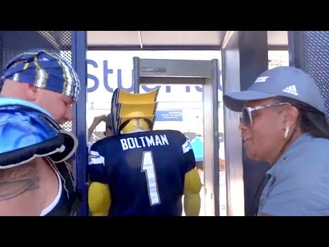 Boltman enters StubHub Center with mask on