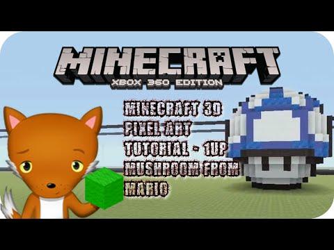 MineCraft 3D Pixel Art Tutorial - 1UP Mushroom From Mario