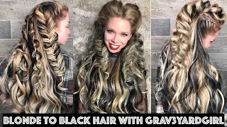 Blonde to Black Hair with Grav3yardgirl