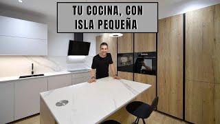 Cocinas MADERA  y BLANCO con isla // Dekton Opera CJR