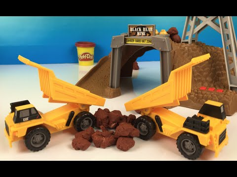 Playdoh CAT Construction 8 Trucks Mining Set - Dump Truck Mighty Machine  By DisneyToysReview
