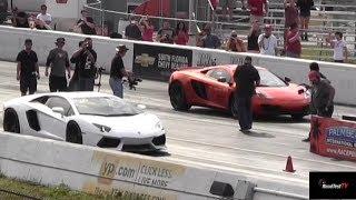 Lamborghini Aventador v McLaren MP4-12C 1/4 Mile Drag Race X 2 - StreetCarDrags.com