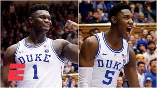 RJ Barrett, Zion Williamson combine for 55 in Duke