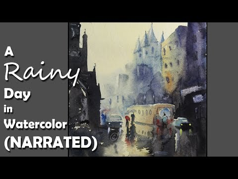 How to Paint Rainy Day Scene in Watercolor NARRATED step by step
