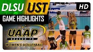 DLSU vs UST   Game Highlights   UAAP 79 WV   April 22, 2017