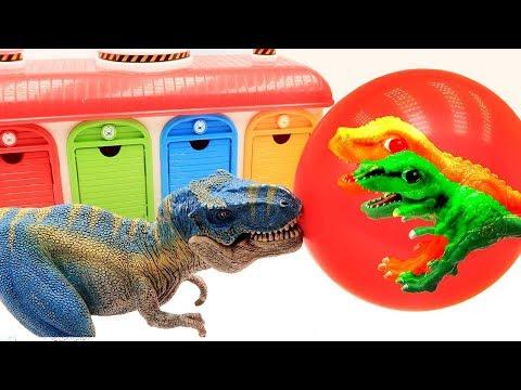 Dinosaur Funny Video - Color Balloon Transformer Dinosaur Eggs!! Dino Toys For Kids