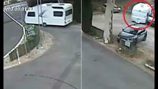 This incredible footage shows a runaway caravan rolling down a hill...