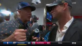 Bill Murray interviews Theo Epstein in the locker room world series 2016 cubs win