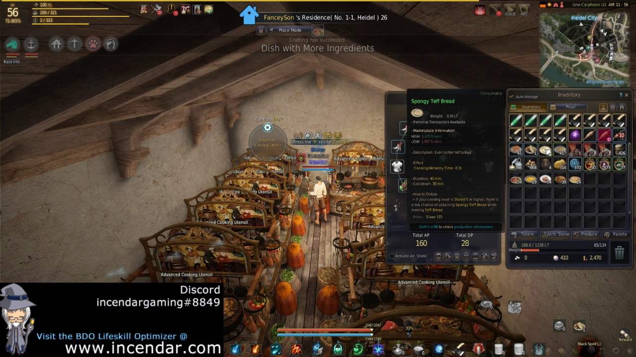 Easier cooking time reduction food! Teff Bread! Black Desert Online BDO  1080p