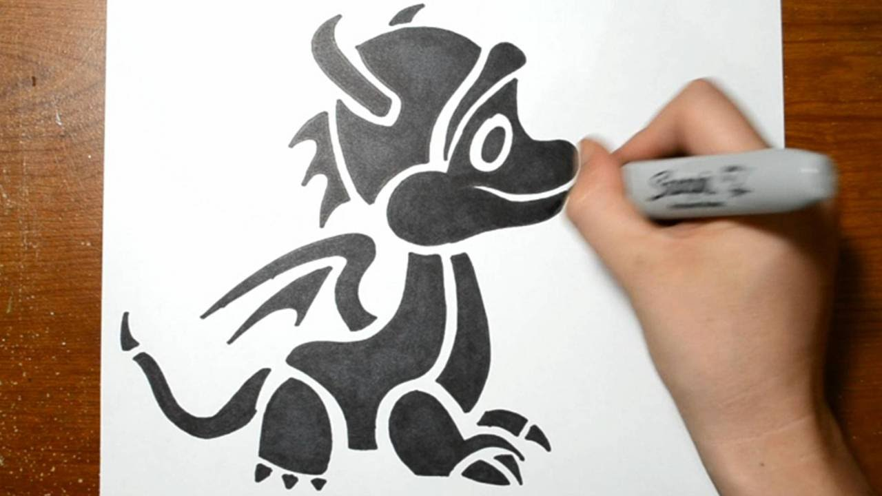 How To Draw A Cute Baby Dragon Tribal Tattoo Style Youtube